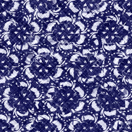 Indigo blue batik dyed daisy flower effect texture background. Seamless japanese repeat pattern swatch. Painterly floral motif bleach dye. Masculine asian fusion all over kimono textile cloth print.