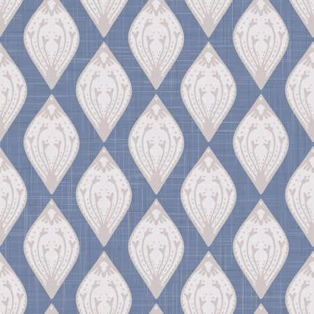 French shabby chic paisley. Line vector woven texture background. Antique white blue flourish seamless pattern. Hand drawn floral interior wallpaper home decor swatch. Persian style all over print