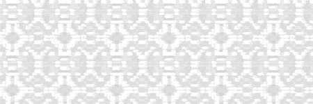 Grey White Vector Banner . Monochrome Irregular Tapestry Kelim. Woven Effect Melange Textured Border Background. Rough Damask Rug Graphic Distressed Weave. Seamless Distressed Edging Pattern EPS 10