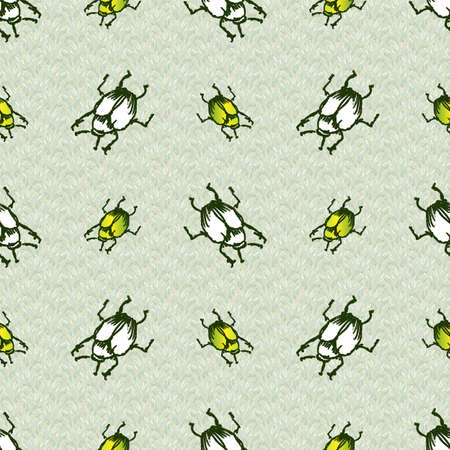 Hand drawn giant fruit green and white bug realistic cartoon vector pattern. Cute garden pest bug. Athropod naive doodle winged beetle biological insect on grass background. Wildlife all over print.
