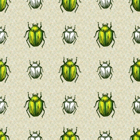 Hand drawn giant fruit bug realistic cartoon vector pattern. Cute garden pest bug. Athropod naive doodle winged green and white beetle biological insect on grass background. Wildlife all over print. Imagens