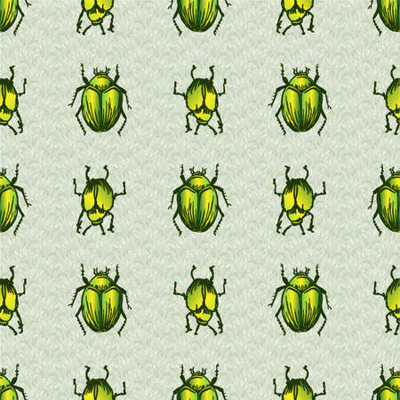 Hand drawn giant fruit bug realistic cartoon vector pattern. Cute garden pest bug. Athropod naive doodle of winged green beetle biological insect on grass background. Wildlife all over print.