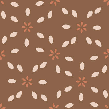 Seamless background folk art flower gender neutral baby pattern. Simple whimsical minimal earthy 2 tone color. Kids nursery wallpaper or boho floral nature fashion all over print