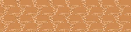 Seamless background simple Carnotaurus dinosaur gender neutral baby border pattern. Simple whimsical minimal earthy 2 tone color. Kids nursery decor edging fashion ribbon trim.