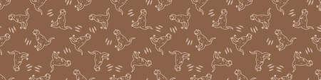 Seamless background Carnotaurus dinosaur gender neutral baby border pattern. Simple whimsical minimal earthy 2 tone color. Kids nursery decor edging fashion ribbon trim.