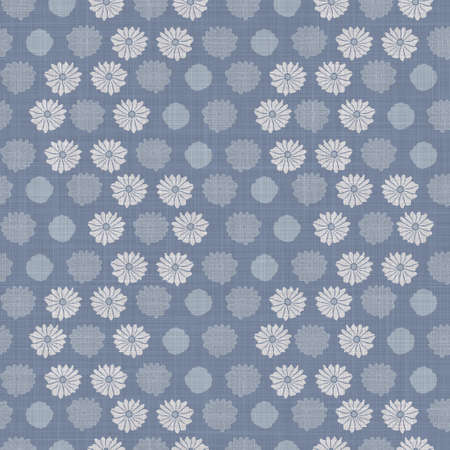 Seamless french farmhouse damask linen pattern. Provence blue white woven texture. Shabby chic style decorative fabric background. Textile rustic all over print Archivio Fotografico