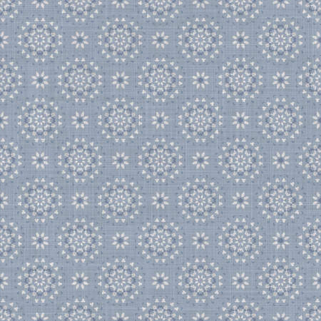 Seamless french farmhouse damask linen pattern. Provence blue white woven texture. Shabby chic style decorative fabric background. Textile rustic all over print Banque d'images