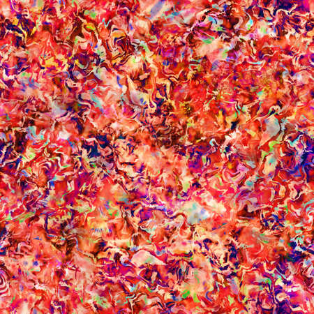Blurry red painterly watercolor floral collage texture background. Grunge distressed tie dye flower melange seamless pattern. Variegated bright ombre glitch effect all over print. Stock Photo