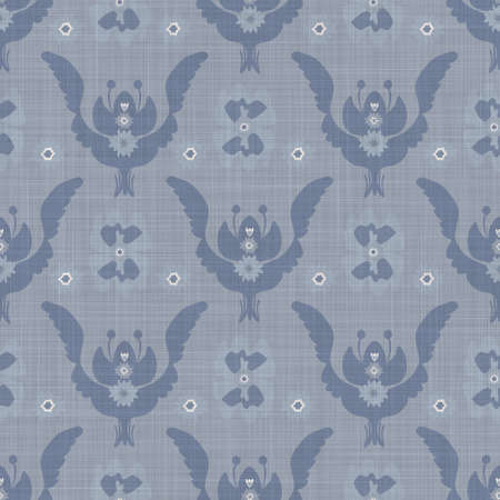 Seamless french farmhouse damask linen pattern. Provence blue white woven texture. Shabby chic style decorative fabric background. Textile rustic all over print Stock Photo