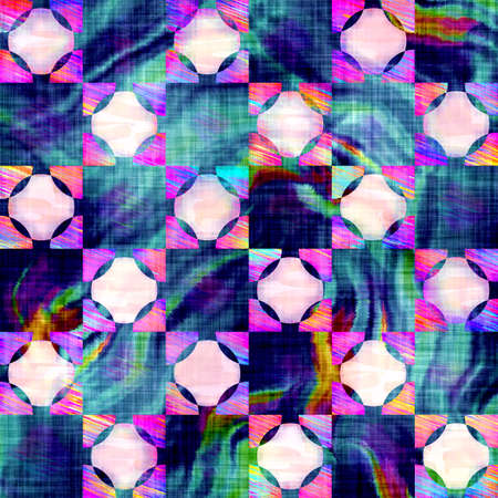 Blurry rainbow glitch check texture background. Irregular bleeding watercolor tie dye seamless pattern. Ombre distorted boho batik plaid all over print. Variegated trendy dipping wet effect.