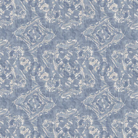 Seamless french farmhouse damask linen pattern. Provence blue white woven texture. Shabby chic style decorative fabric background. Textile rustic all over print