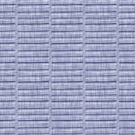 Seamless indigo washed stripe texture. Blue woven boro linen cotton dyed effect background. Japanese repeat batik resist pattern. Asian striped all over textile print.