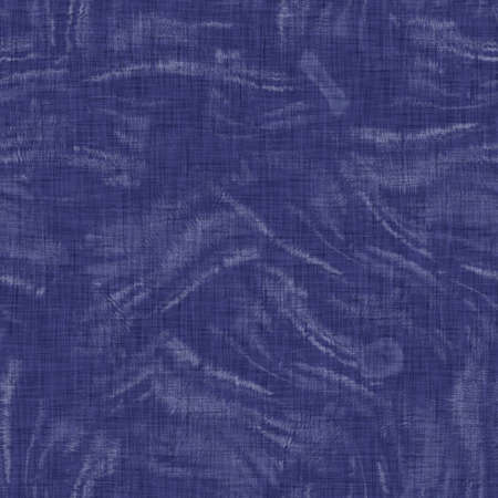 Seamless indigo mottled texture. Blue woven boro cotton dyed effect background. Japanese repeat batik resist pattern. Distressed tie dye bleach. Asian fusion allover kimono textile. Worn cloth print Foto de archivo