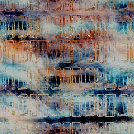 Blurry watercolor glitch artistic stripe texture background. Irregular bleeding tie dye seamless pattern. Ombre distorted boho batik all over print. Variegated trendy striped moody dark wet effect.