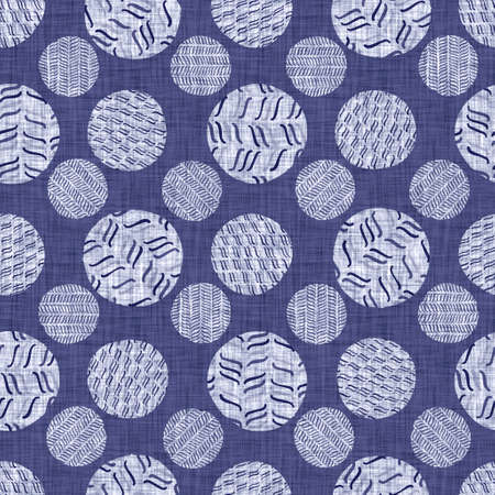 Seamless indigo doodle dot texture. Blue woven boro cotton dyed effect background. Japanese repeat batik resist wash pattern. Distressed dotted dye spot. Asian all over cloth print.