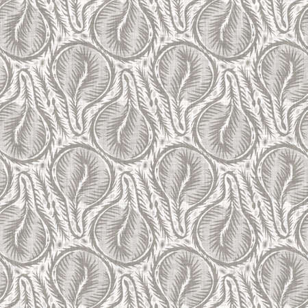 Natural gray french woven linen texture background. Old ecru flax leaf stripe seamless pattern. Organic french farmhouse weave fabric for all over print.