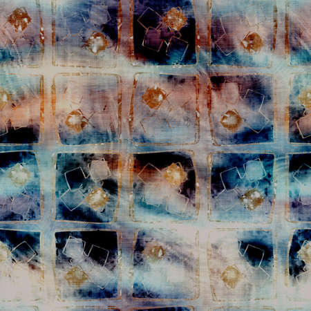 Blurry watercolor glitch artistic geo texture background. Irregular bleeding tie dye seamless pattern. Ombre distorted boho batik all over print. Variegated trendy moody dark wet effect.