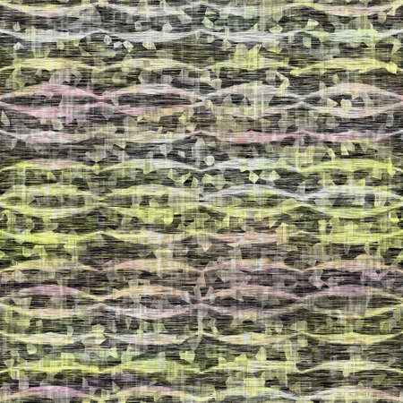 Seamless distressed mottled tie dye striped texture background. Distressed boho blur washed pattern. Blotched aged lime yellow purple cloth effect. Ragged old mash up stripe all over print. Foto de archivo