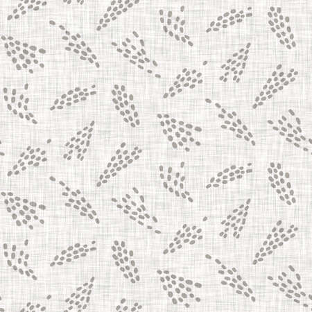 Natural gray french woven linen texture background. Old ecru flax bloom motif seamless pattern. Organic french farmhouse weave fabric for all over print. Greige flower block print textured canvas