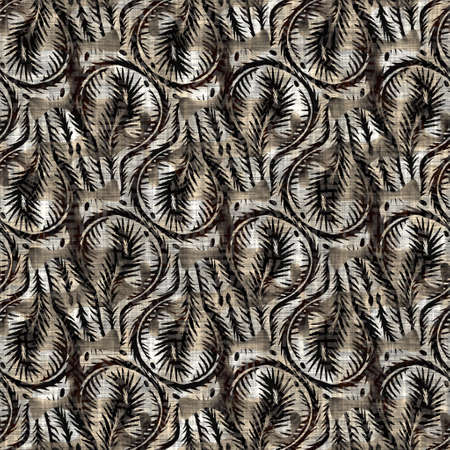 Seamless floral sepia grunge print texture background. Worn mottled flower bloom pattern textile fabric. Grunge rough blur linen all over print