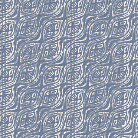 Seamless french farmhouse linen summer block print background. Provence blue gray linen rustic pattern texture. Shabby chic style old woven flax blur. Textile all over print. Foto de archivo