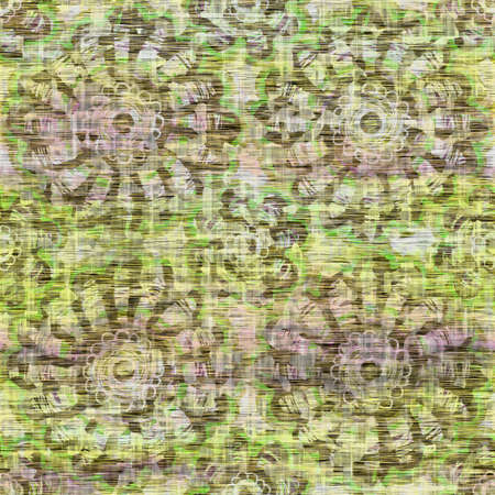 Seamless distressed mottled tie dye floral texture background.Distressed boho blur washed pattern. Blotched aged lime yellow purple cloth effect. Ragged old mash up flower collage all over print. Foto de archivo