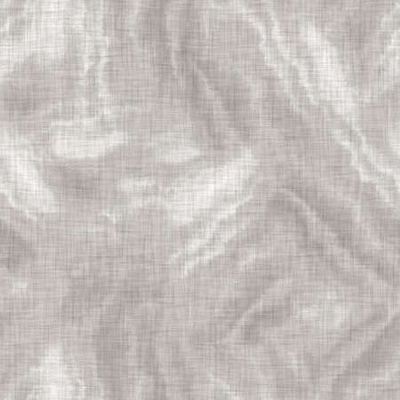 Seamless gray french woven linen wave stripe background. Ecru flax hemp fiber natural pattern. Organic yarn close up weave fabric material. Ecru greige neutral striped wavy line textile cloth. Foto de archivo