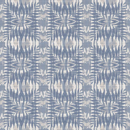 Seamless french farmhouse damask linen pattern. Provence blue white woven texture. Shabby chic style decorative fabric background. Textile rustic all over print Foto de archivo