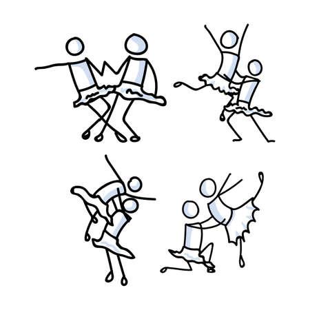 Hand drawn lesbian girl stickman ballet dancer set concept. Simple outline two women ballerina couple doodle icon clipart. For lgbtq dance studio or pride theatre performer sketch illustration. Vectores