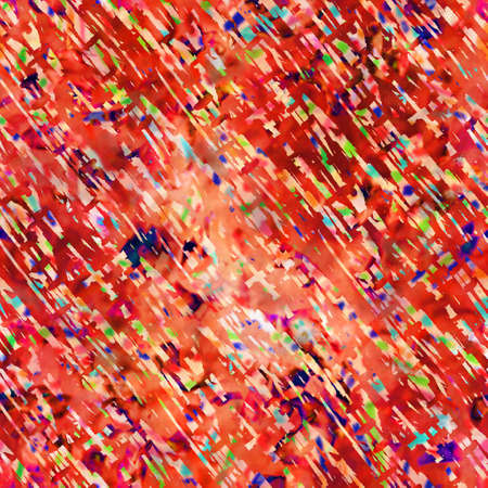 Blurry red painterly watercolor collage texture background. Grunge distressed tie dye camo melange seamless pattern. Variegated bright ombre glitch effect all over print.