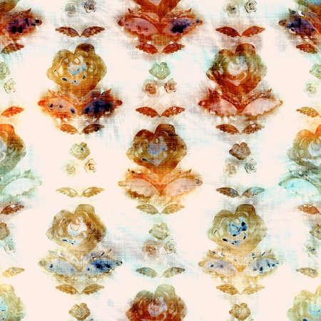 Blurry watercolor glitch artistic damask texture background. Irregular bleeding tie dye seamless pattern. Ombre distorted boho batik all over print. Variegated ornate moody dark wet effect. Foto de archivo