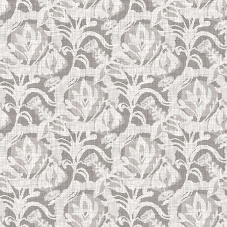 Natural gray french woven linen damask texture background. Old ecru flax wave motif seamless pattern. Organic farmhouse country weave fabric for wallpaper. Foto de archivo