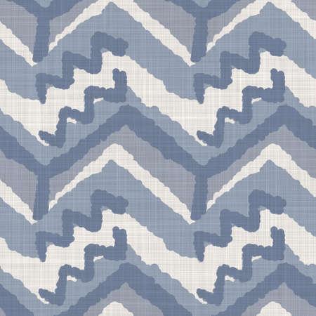 Seamless french farmhouse woven linen chevron texture. Ecru flax blue hemp fiber. Natural pattern background. Organic ticking fabric for kitchen towel material. Zig Zag stride material allover print Foto de archivo