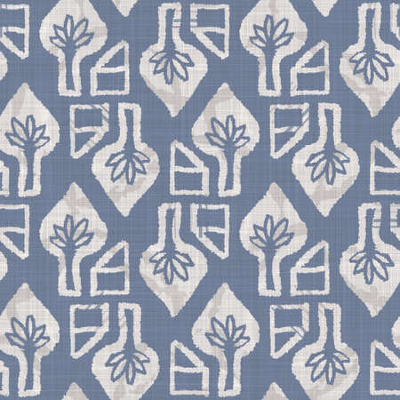 Seamless french farmhouse linen geometric block print background. Provence blue gray rustic pattern texture. Shabby chic style old woven blur textile all over print. Foto de archivo