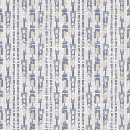 Seamless french farmhouse woven linen stripe texture. Ecru flax blue hemp fiber. Natural pattern background. Organic ticking fabric for kitchen towel material. Pinstripe material allover print Foto de archivo