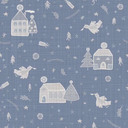 Seamless french farmhouse linen printed winter holiday background. Provence blue gray linen pattern texture. Shabby chic style festive christmas motif background. Textile rustic all over print