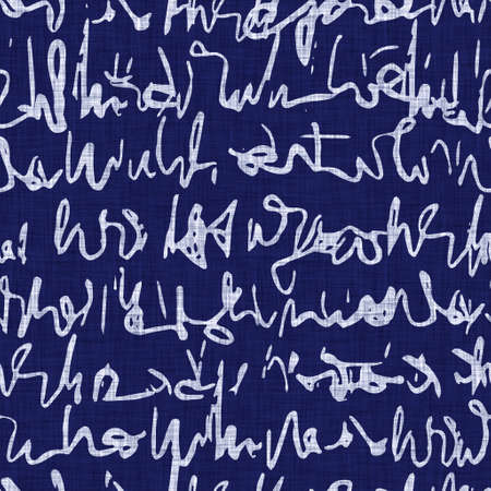 Seamless indigo block print texture. Navy blue woven cotton dyed effect background. Japanese repeat batik resist motif pattern. Asian fusion all over textile blur cloth print.