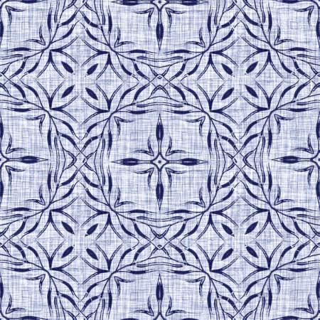 Seamless indigo damask texture. Navy blue woven ornate cotton dyed effect background. Japanese repeat batik resist pattern. Asian fusion all over textile blur cloth print. Foto de archivo