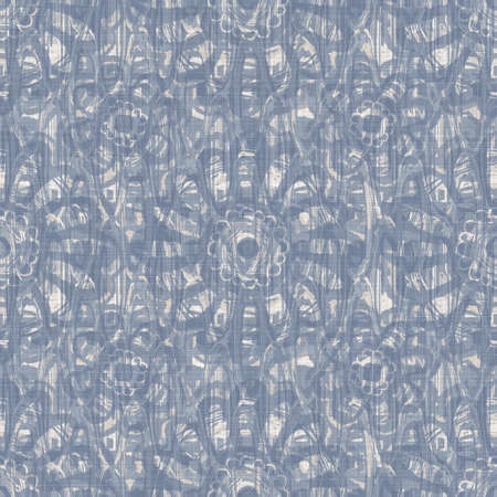 Seamless french farmhouse linen printed floral damask background. Provence blue gray linen pattern texture. Shabby chic style woven blur background. Textile rustic all over print Foto de archivo