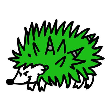 Punk rock hedgehog vector illustration clipart. Simple alternative sticker. Kids emo rocker cute hand drawn cartoon animal with attitude motif Ilustración de vector