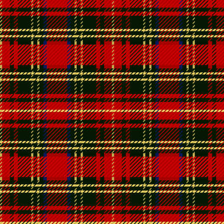 Cute punk red plaid vector seamless pattern. Checkered scottish flannel print for celtic home decor. For highland tweed trendy graphic design. Tiled rustic houndstooth grid.