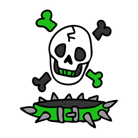Punk rock skull and collar vector illustration clipart. Simple alternative sticker. Kids emo rocker cute hand drawn cartoon grungy tattoo with attitude motif.