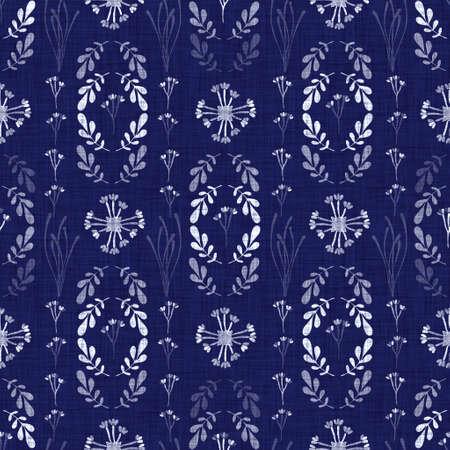Indigo blue flower block print dyed linen texture background. Seamless woven japanese repeat batik pattern swatch. Floral organic distressed blur block print all over textile. Standard-Bild