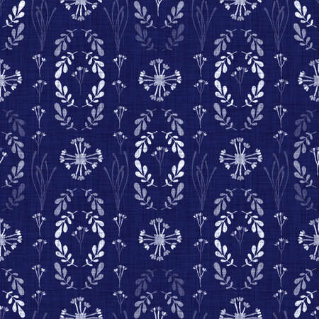 Indigo blue flower block print dyed linen texture background. Seamless woven japanese repeat batik pattern swatch. Floral organic distressed blur block print all over textile. Stock Photo