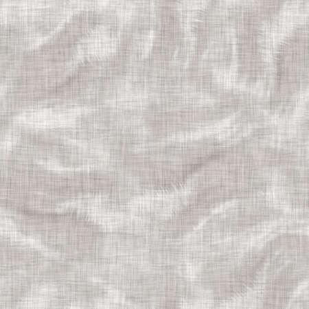 Seamless gray french woven linen wave stripe background. Ecru flax hemp fiber natural pattern. Organic yarn close up weave fabric material. Ecru greige neutral striped wavy line textile cloth. Archivio Fotografico