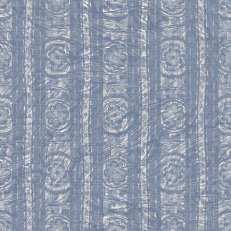 Seamless french farmhouse woven linen stripe texture. Ecru flax blue hemp fiber. Natural pattern background. Organic ticking fabric for kitchen towel material. Pinstripe material allover print Archivio Fotografico