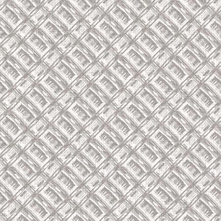 French woven linen texture geometric shape background. Old ecru flax grey geo motif seamless pattern. Rough greige block print cloth textured canvas