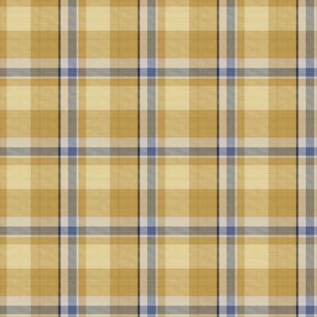 Seamless french blue yellow farmhouse style gingham texture. Woven linen check cloth pattern background. Tartan plaid closeup weave fabric for kitchen towel material. Checkered fiber picnic table
