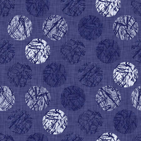 Seamless indigo doodle dot texture. Blue woven boro cotton dyed effect background. Japanese repeat batik resist wash pattern. Distressed dotted dye spot. Asian all over cloth print. Archivio Fotografico