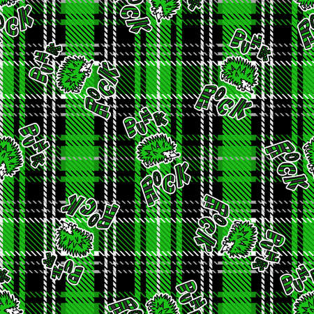 Cute punk hedgehog on plaid background vector pattern. Grungy alternative checkered home decor with cartoon animal. Seamless rocker attitude all over print.